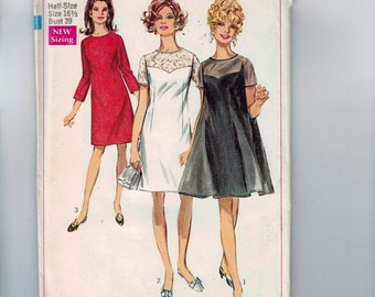 1960s Vintage Sewing Pattern Simplicity 7951 Misses Half Size One Piece Slim or Tent Dress Size 16 1/2 Bust 39 60s 1969 UNCUT