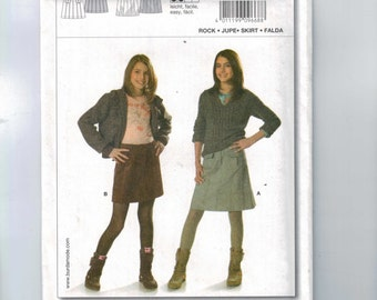 Misses Sewing Pattern Burda 9668 Young and Easy Girls Juniors Gored Skirt Mini Knee Long Size 7 8 9 10 11 12 13 14 UNCUT 1990s