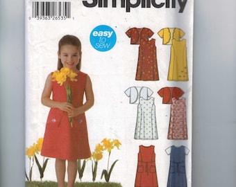 Girls Sewing Pattern Simplicity 5635 Girls Easy Princess Seam Spring Sundress Dress Bolero Size 3 4 5 6 7 8 breast 22 23 24 25 26 27 UNCUT