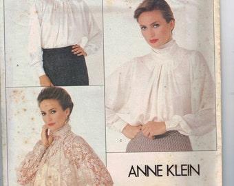 1980s Vintage Sewing Pattern Vogue 1057 Anne Klein American Designer Romantic Blouse Top Size 10 or 12 80s UNCUT