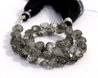 """Full 6"""" 6-7mm Natural Black Rutilated Quartz Micro Faceted Onion Briolettes Gemstone Beads Great Quality Wholesale Price"""