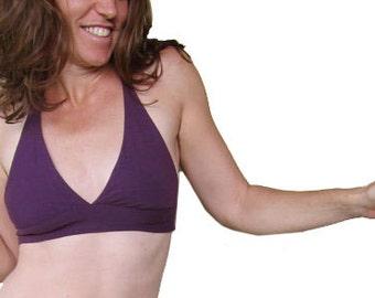 Reversible Bikini Top - Purple & Tan