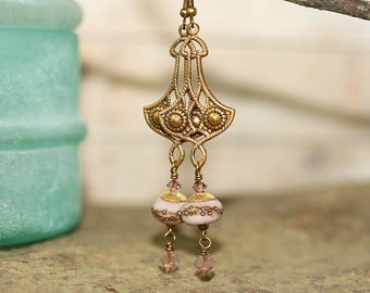 Pink Lampwork Glass, Swarovski and Brass Earrings, Handcrafted Vintage Style Artisan Jewelry, Victorian Drops, Romantic, Soft Color Palette
