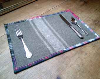 Wool Placemats with plaid flannel binding, set of 4 or 6, upcycled, handmade in Maine