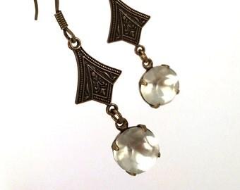 Matte glass art deco style dangle earrings