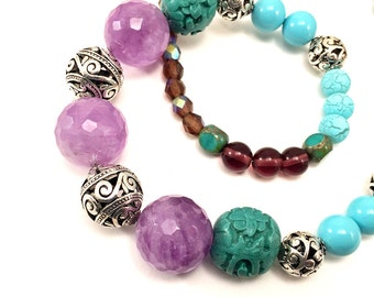Amethyst accent necklace with multicolor beads