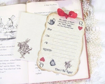 Alice Queen of Hearts Party Invitations - Set of 10 - Choose Ribbon Colors - Looking Glass Mad Tea Party Bridal Tea Unbirthday Party