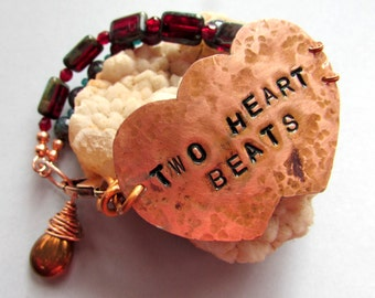 Bracelet - TWO HEART BEATS - Hammered Copper with Teal and Ruby Red Picasso Czech Glass.Valentine.Boho Gypsy Shabby Cottage Hippie Rustic