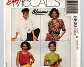 90s Blouse and Tank Top Vintage Sewing Pattern 4 Summer Styles Loose Fitting Blouse Long Short Sleeve Patch Pockets Plus Sz Bust 42 44 46