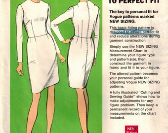 Vintage 60s Vogue 1000 Basic Fitting Shell Sewing Pattern w/Guide Fitted Bodice Dress Jewel Neckline Slim Waist Full Length Sleeves Bust 39