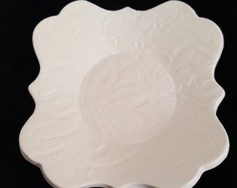 Off White Trinket Dish/Snack Dish/ Spoon Rest/Soap Dish