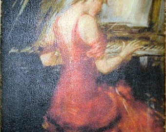 Boldini Lady in Red Piano Ready to Hang Museum Quality Print on Canvas
