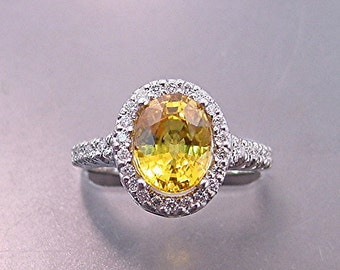 AAA Yellow Sapphire   9x7mm  2.97 Carats   in a 14k White gold ring with diamonds (.30ct) Ring  MMM