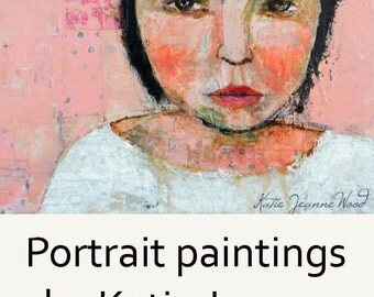Acrylic Woman Portrait Painting - Mixed Media Collage Art - Palette Knife Painting - Pink & White - Tiny Room
