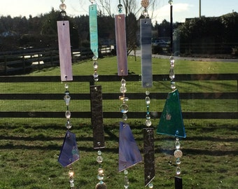 Purple Stained Glass Sun Catcher, Glass Mobile, Beaded Sun Catcher, Glass Windchime, Stained Glass Chimes, Wind Chimes, 8237