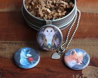 Star Animals Locket Set | modern locket animal lover jewelry, spirit animal fox locket, owl jewelry, star bear necklace | by Meluseena