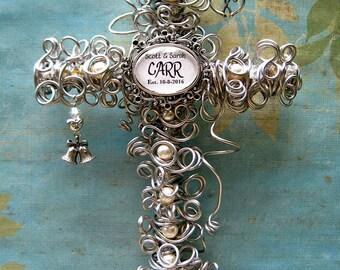 Personalized Wedding Gift - Wedding Keepsake - Personalized Cross - Couple Gift - Wedding Gift - Silver Cross - Pearl Cross - 8 Inch