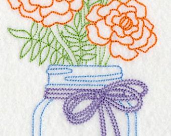 Marigolds in Mason Jar Embroidered Vintage Look Flour Sack Kitchen Tea Towel