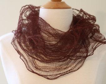 Espresso Knitted Crinkle Scarf in Gossamer Weight Wool Stainless Steel Yarn