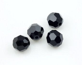 8mm JET Swarovski Beads 5000 8mm Faceted Round Beads Jet Black Swarovsk Austrian Crystal