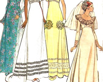 Wedding Gown Pattern 1970s Bridesmaid Dress Butterick Uncut Sewing Vintage Women's Misses Size 8 Bust 31. 5 Inches