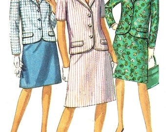 1960s Suit Pattern Half Size A Line Skirt Jacket Simplicity Vintage Sewing Women's Misses Size 20. 5 Bust 41 Inches