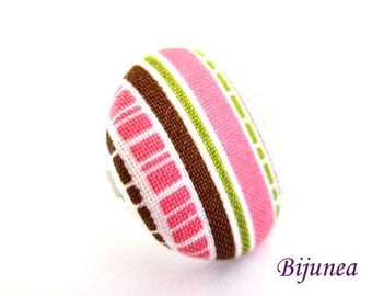 Pink stripes fabric ring - Pink brown fabric ring - Statement stripes ring - Pink fabric adjustable ring r933