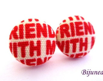 Words earrings - Red word stud earrings - Words studs - Words post earrings sf1146