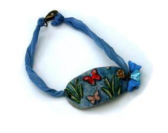 Blue Flower Butterfly Bracelet, Flower Bracelet, Butterfly Bar Bracelet