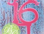 Sweet Sixteen 16 Cake Topper, Table Decoration, Party Centerpiece, Bubblegum Pink *Original Design*