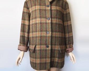 MACKINTOSH // Vintage Plaid Wool Coat Olive Green Tartan Jacket 90s Grunge Nautica Warm 1990s Punk Mod England Womens Large XL