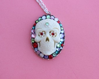 Large Rhinestoned Day of the Dead Sugar Skull Cameo Necklace