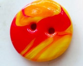 Tequila Sunrise - art glass button - vivid red and yellow swirls - two hole