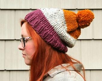Knit Three-toned Pom Pom Slouchy Beanie Hat - Plum, Ash, Butternut
