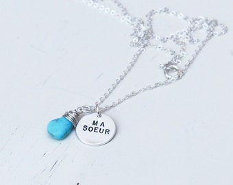 My Sister Necklace.... Ma Soeur .... Hand Stamped Necklace, Wire Wrapped Briolette, Sister Gift,  Hand Stamped Jewelry