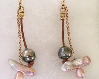 Leather and Chain Pearl Earrings