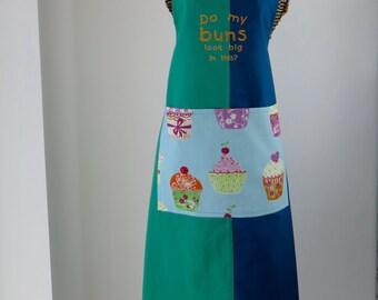 Baking apron-Ladies apron-Do my buns look big in this apron-cupcake apron OOAK-womans apron
