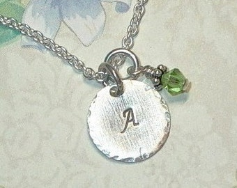 Personalized Initial Necklace - Hand Stamped Sterling Silver Initial Charm and Birthstone Necklace - Petite Initial Charm Necklace