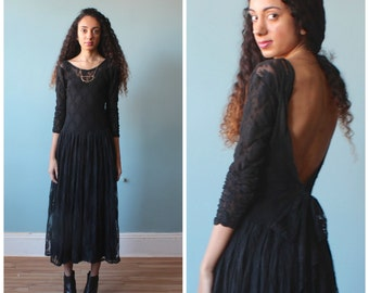 black stretch lace midi dress / backless party dress / 1980s / x-small - medium