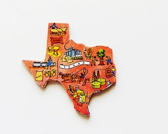 1960s Texas Brooch - Pin / Unique Wearable History Gift Idea / Upcycled Vintage Hand Cut Wood Jewelry / Timeless Gift Under 25