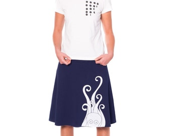 Unique Design Skirt for Women, Plus size cotton skirt, Knee length A-line skirt, Midnight Blue skirt, Navy blue cotton jersey skirt- Octopus