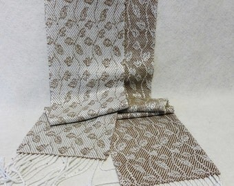 Handwoven Scarf - Hand Woven Tencel Scarf - Leaves & Vines in Taupe and White - Woven Tencel Scarf