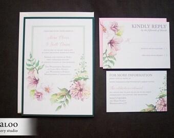 "Watercolor Flowers Wedding Invitation Sample - ""Geneva"""