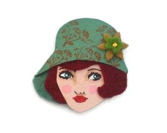 Cloche Hat Girl Fabric Brooch, Felt Brooch, Art Brooch, Wearable Art Jewelry, Mother's Day Gift