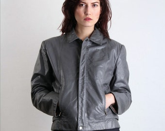 SALE - 80s Leather Jacket .  Biker Coat GREY