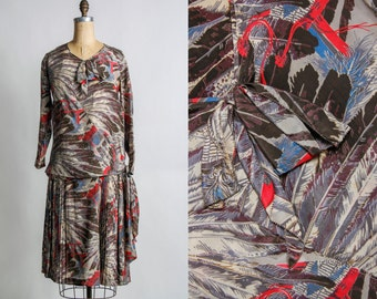 SALE- 1920s FEATHER 2pc  Dress & Top . Flapper Fashion . 20s