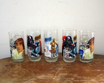 vintage 1977 1980 Burger King Star Wars & Empire Strikes Back Group of 5 Promo Drinking Glasses