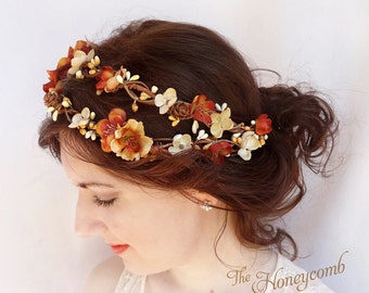 fall wedding headpiece, fall flower crown, rustic autumn headband, bridal hair accessory, burnt orange floral hairpiece -HARVEST- woodland