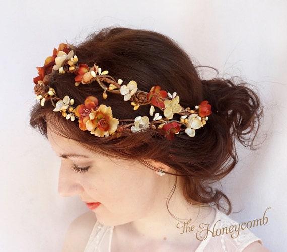 fall wedding headpiece fall flower crown rustic by ...