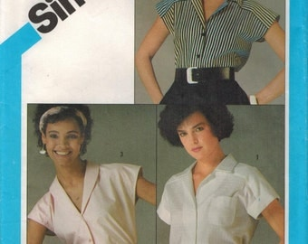 1980s Simplicity 6438 UNCUT Vintage Sewing Pattern Misses Sleeveless Blouse Size 16 - 18 - 20 Bust 38 - 40 - 42